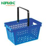 Supermarkt-Doppelt-Griff-Plastikeinkaufskorb