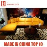 Sofá de cuero seccional de la esquina moderno del color amarillo de Dinamarca fijado para la sala de estar