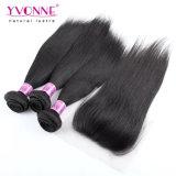 Yvonne-Großverkauf 3 Bündel mit dem Schliessen-brasilianischen geraden Haar