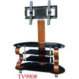 Tall Coin noir en verre TV rotatif avec tiroirs armoire statif