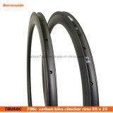 28 mm de ancho 50mm carbono remachador bicicleta de carreras Rim, el ciclo del carbono Rim Rueda 700c