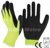 Polyester jaune Nmsafety Shell Gant de revêtement en latex bleu