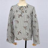 새로운 여자의 꽃 새 인쇄 긴 소매 붕대 셔츠 블라우스 셔츠 블라우스