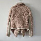 Abrigo de pieles delantero abierto del Faux de la solapa de la pana de imitación del algodón de la lavanda