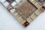 R28 Brown Ineinander greifen-Rückseiten-Blumen-dekorative materielle Mosaik-Glasfliese