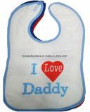 中国の工場農産物はプリント漫画の赤い配管綿のニットのテリーの赤ん坊の胸当てをカスタム設計する