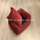 Rotes Quadrat-Haustier-Bett-Sofa-Haustier-Zubehör-Katze-Hundebett-Sofa mit entfernbarem Kissen