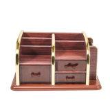 Multifunción de madera soporte de almacenamiento de borde de oro