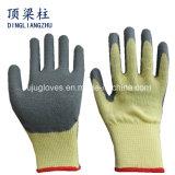перчатки раковины поли хлопка 10gauge серые с голубым латексом Crinkle для внимательности рук