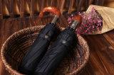 Ombrello di legno di cuoio della maniglia per il parasole maschio di qualità 10ribs delle forti Windresistant dell'ombrello degli uomini 3folding donne automatiche della pioggia