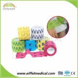 Nichtgewebte Baumwollveterinärgedruckter elastischer Bindemehrfarbenverband mit Spandex
