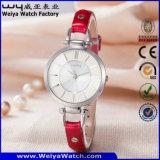 Montre-bracelet classique occasionnelle de dames de quart de courroie en cuir de mode (Wy-063B)