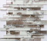 Горячие продажи древесины для струйной печати с оформлением Backsplash стеклянной мозаики плитки