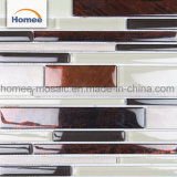 Mosaico di vetro di alluminio delle mattonelle della Cina della miscela di colore beige decorativo del Brown
