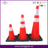 Coni neri di traffico del PVC dell'arancio