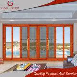 Porte coulissante en verre de bâti en aluminium européen de modèle avec la compensation de moustique