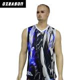 Gli uomini adattano velocemente la maglietta giro collo Sleeveless asciutta della parte superiore di serbatoio di ginnastica di sport, maglietta giro collo in bianco del Mens di pallacanestro della Jersey