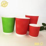 Rizado de mayorista de vasos de papel de pared con tapas de café y té