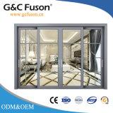 Раздвижная дверь балкона алюминиевая с электрическими шторками
