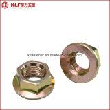 Noix Hex galvanisées de bride de couleur d'acier du carbone DIN6923