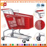 Chariot en plastique à achats de supermarché de roues de la qualité 4 (Zht90)