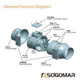 Unter Druck gesetzter Turbo Gebläse-Ventilator Durchmesser-100mm 220-240V 35W 295m3/H 2500r/Min schiefer Fluss für öffentliche Orte
