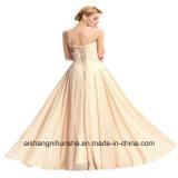 Vestido de casamento Sleeveless formal elegante traseiro com cordões do vestido de partido