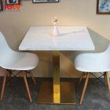 椅子が付いている工場現代大理石の上のダイニングテーブル