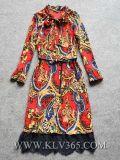 Alineada de seda de la funda de la impresión larga de la manera para las señoras