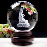 Bola de cristal elegante de la bola cristalina del amarillo del globo de la decoración del Bodhisattva del Buddhism de Buddha de la bola del laser cristalino K9