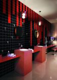 Schwarzes 6X6inch/15X15cm glasierte glatte keramische Wand-Untergrundbahn-Fliese-Badezimmer-/Küche-Dekoration