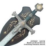Rei largo medieval Solomon Espada da prata da espada com chapa 123cm Jot032c