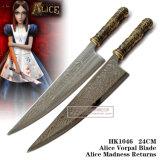 A loucura de Alice Vorpal Bladealice retorna 45cm/24cm HK1043/HK1046