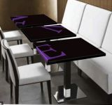 Самомоднейший обеденный стол 4 людей искусственний каменный длинний (T1711278)