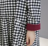 Casual de alta calidad cuello redondo vestido Damas Plaid