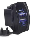Aluguer de barco carregador USB duplo interruptor basculante do Cubo Empurre liga/desliga a luz de LED azul do motor de 12V
