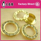 Occhielli di cristallo di vetro dei gommini di protezione del diamante del metallo dell'occhiello d'ottone rotondo del Rhinestone