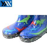 2018 солнечный синий текстильной печати динозавров втулку детей из натурального каучука высокого качества Wellingtons Rainboots кружева новый дизайн Wellies обувь для детей обувь