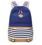 Da marinha nova do saco de ombro do dobro da lona do estilo do azul de marinha das mulheres listradas do saco saco da High School de saco de escola