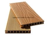 Revestimento de madeira oco de sulco impermeável contínuo do Decking da textura WPC