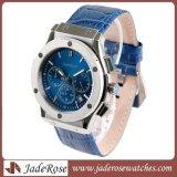 Digital-Edelstahl-Armbanduhr der Männer mit lederner Brücke