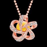Joyería popular del diamante de la dimensión de una variable de la flor del collar de la resina del oro de Rose del diseño