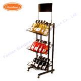 Eindeutiger Fußboden-stehende Metallbildschirmanzeige-Wein-Speicher-Regal-Zahnstange