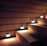 Lámpara Solar 2LED luz cálida Luz solar jardín Ruta Solar cerca de la pared de acero inoxidable de la luz