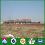 Gruppo di lavoro prefabbricato della struttura d'acciaio con la gru
