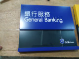 Teken van de Folder van de Gids van de Vertoning van de Informatie van de Dienst van de Plaque van de Muur van het Bureau van de Lijst van de bank het Binnen