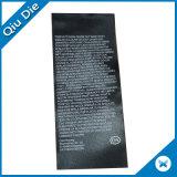 Étiquette noire molle d'impression de coton avec le pli bilatéral