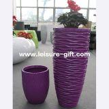 Decoração exterior interiores coloridos pote de flores de fibra de vidro