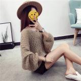 2017新しいばねはおよび秋Vの首女性のためのモヘアのセーターのプルオーバーを考える