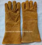 Двойной продаж с возможностью горячей замены для рук коровы Split кожа хлопка рабочие перчатки